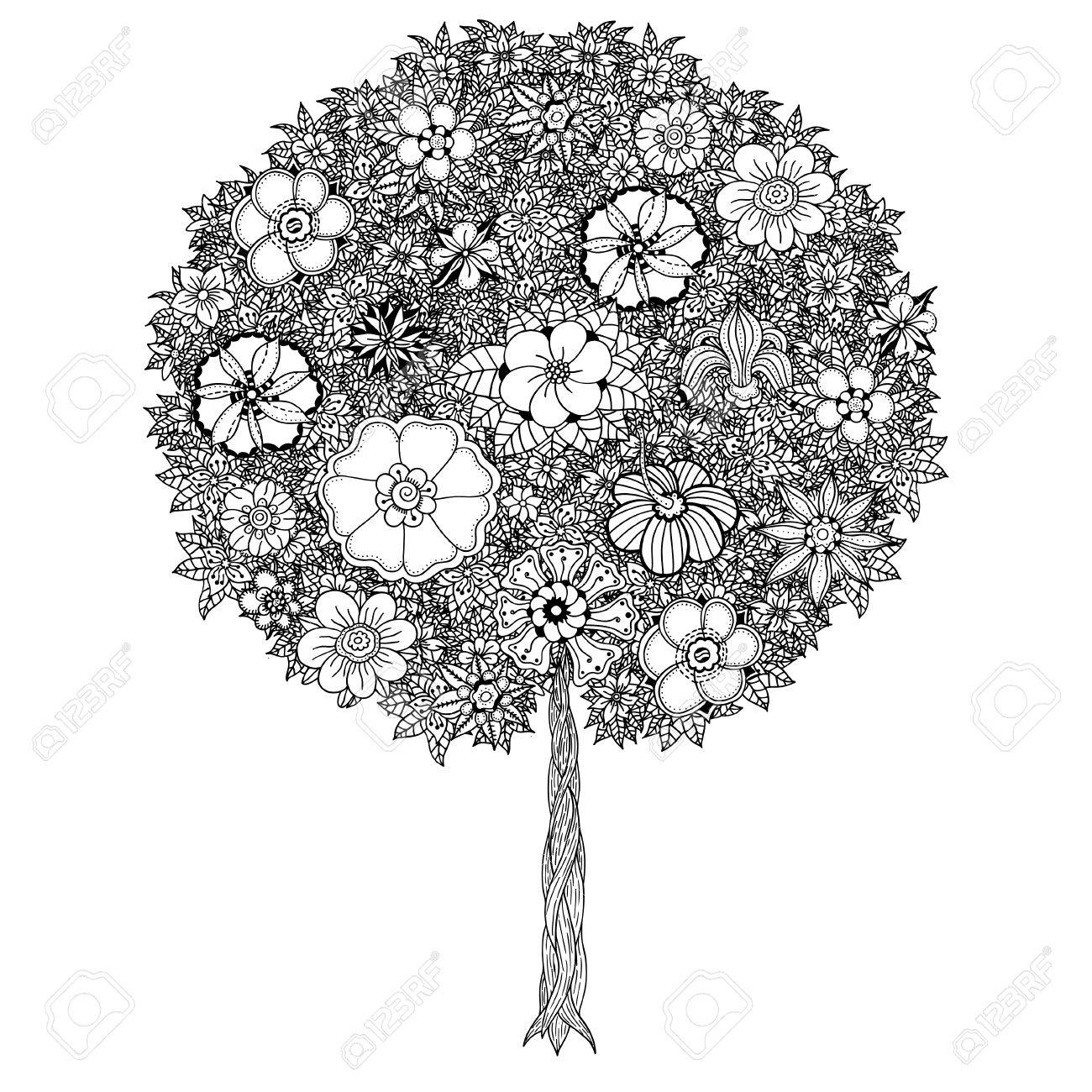 Black And White Tree With Leaves Flowers Vector Coloring Book Page For Adults Hand Drawn