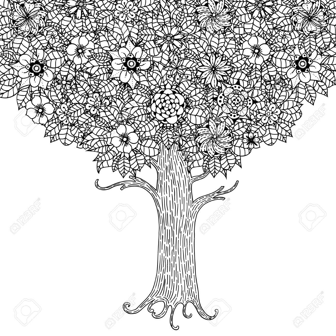 Rbol Con Las Hojas Y Las Flores. Vector. Página Para Colorear Libro ...