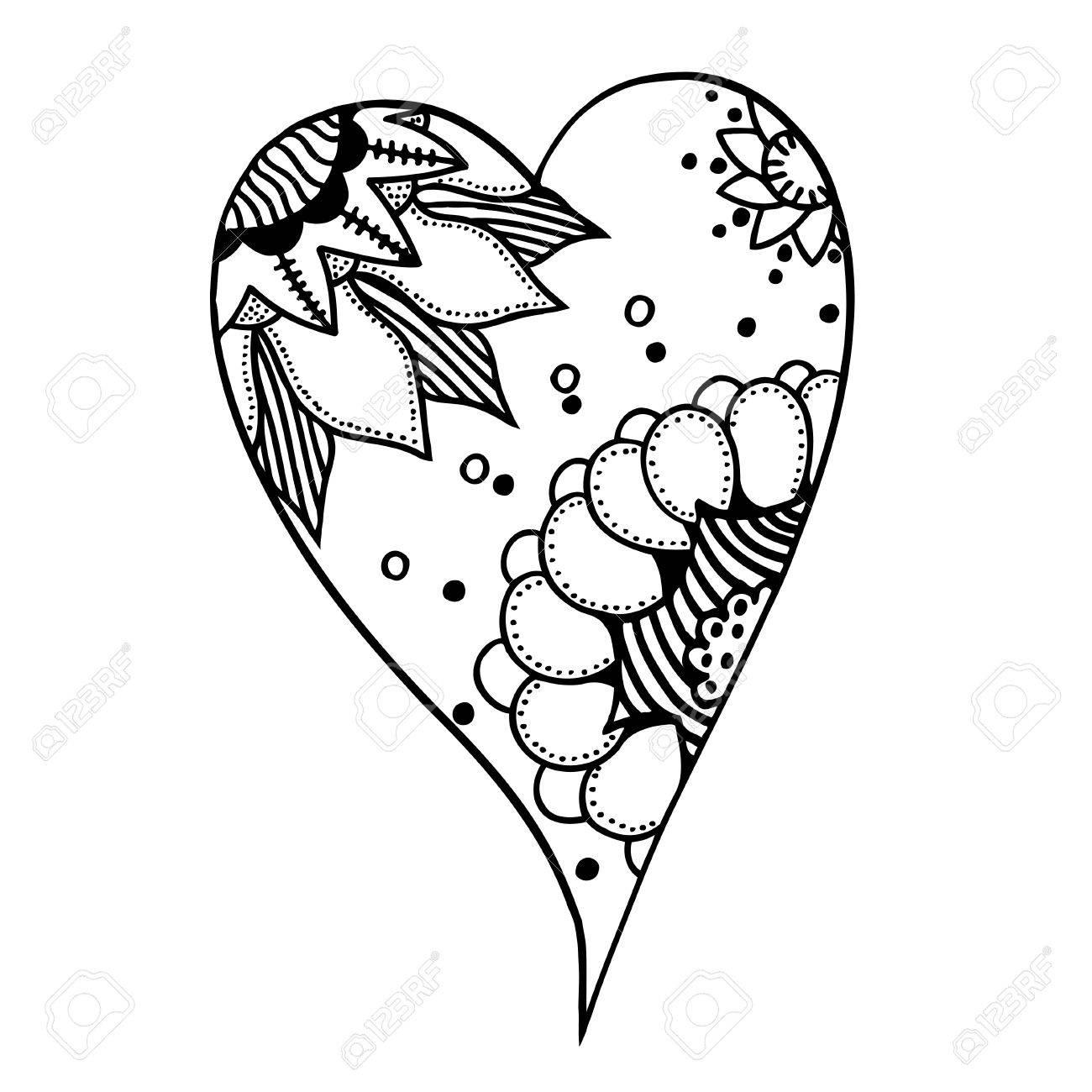 Dibujados A Mano De Estilo Corazones Patrón De Libro Para Colorear Hecho Por El Trazo Del Dibujo Fondo Del Día De San Valentín