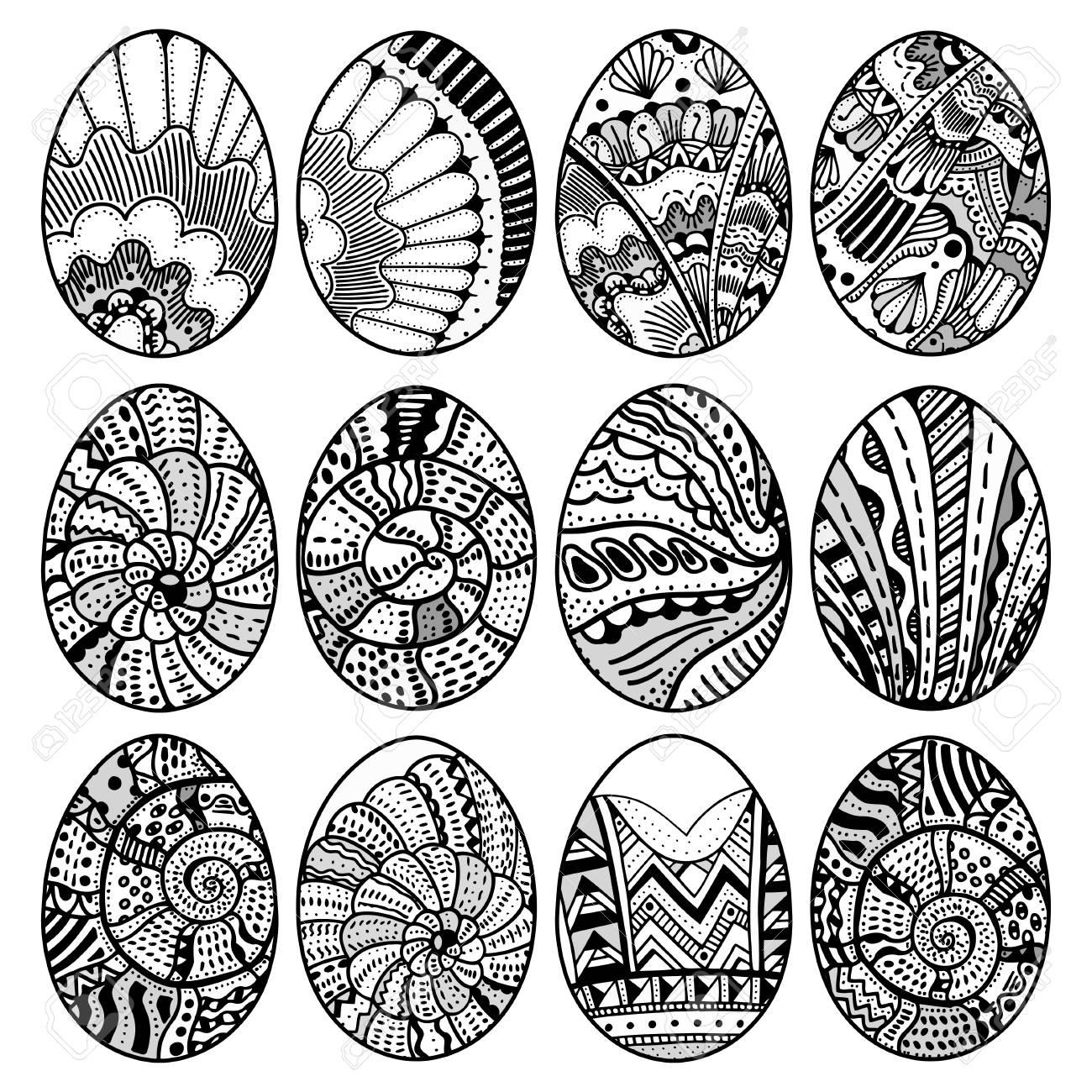 Dibujados A Mano Los Huevos De Pascua Fijados Para Libro Para ...