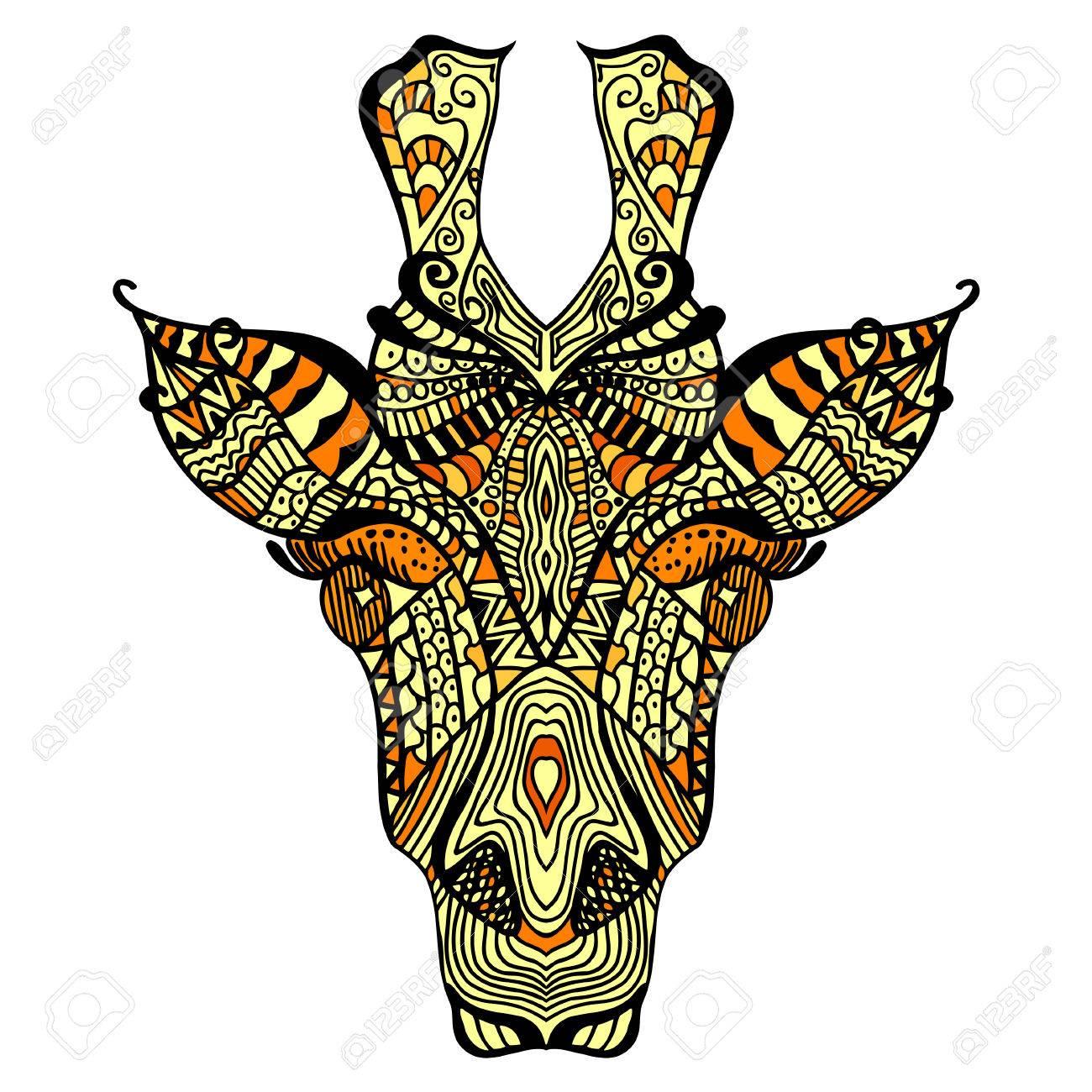 Giraffe. Hand Gezeichnet Giraffe Mit Ethnischen Blumen ...
