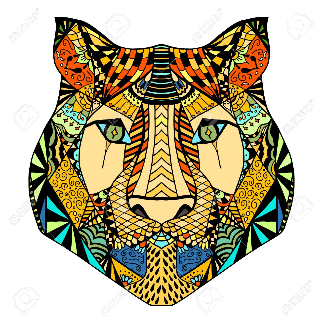 Tiger head. Adult antistress coloring page. Black white hand drawn ... | 1300x1300