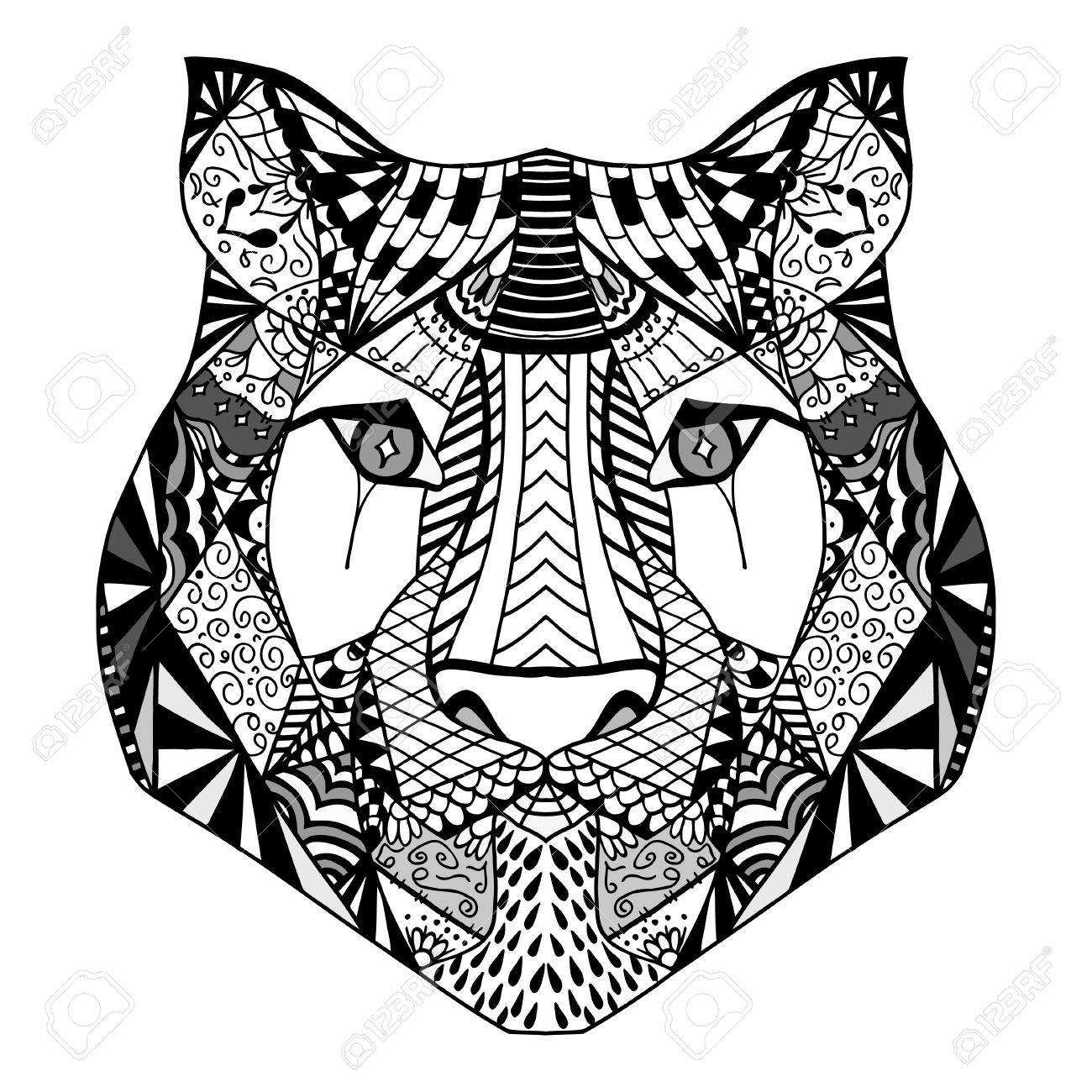 Tiger Kopf Erwachsene Antistress Malvorlagen Schwarz Weiße Hand
