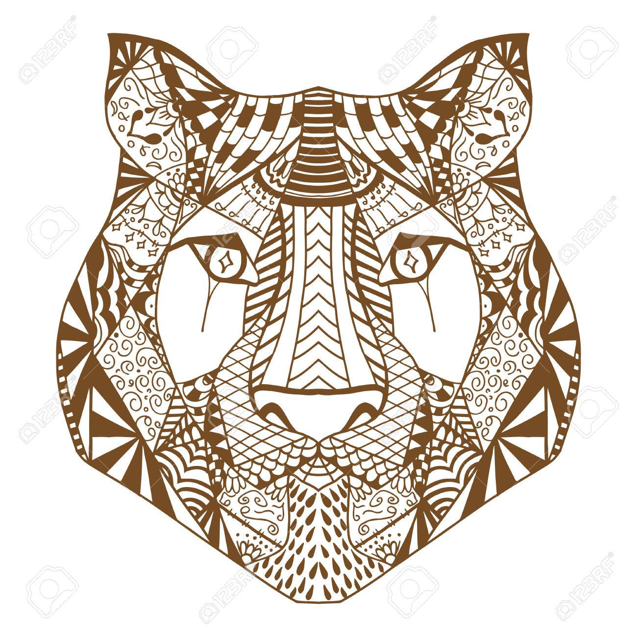 Tiger Head Adult Antistress Coloring Page Brown White Hand Drawn Doodle Animal Ethnic