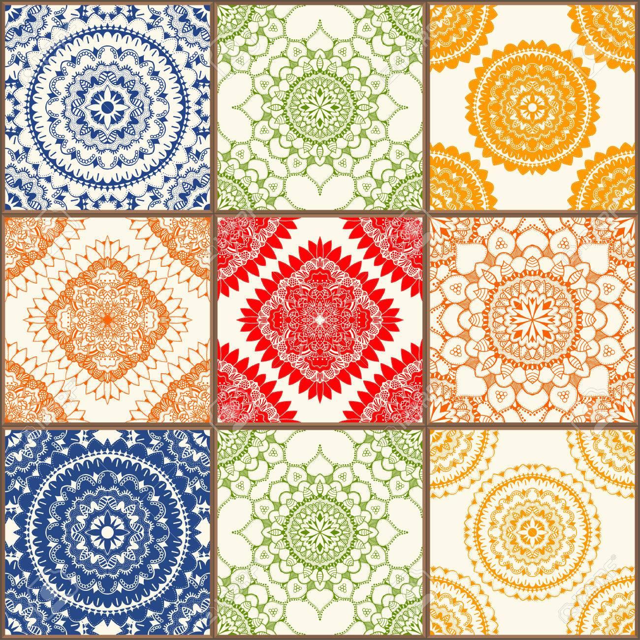 Glazed ceramic tiles set colorful vintage tiles with floral glazed ceramic tiles set colorful vintage tiles with floral and geometrical patterns spanish dailygadgetfo Images