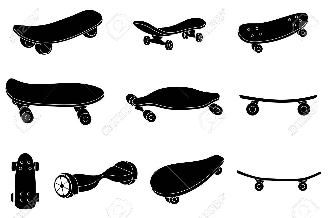 363d2e30 Set of black and white skateboards. For labels, logos, icons. Attributes of