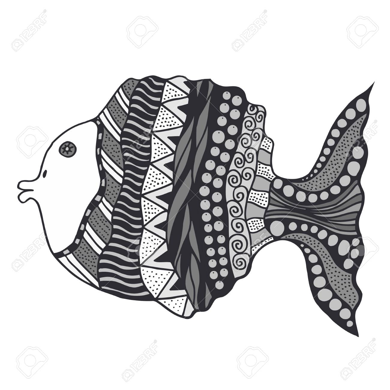 vector vector hand drawn doodle outline fish illustration decorative fish drawing with abstract ornaments - Outline Of Fish