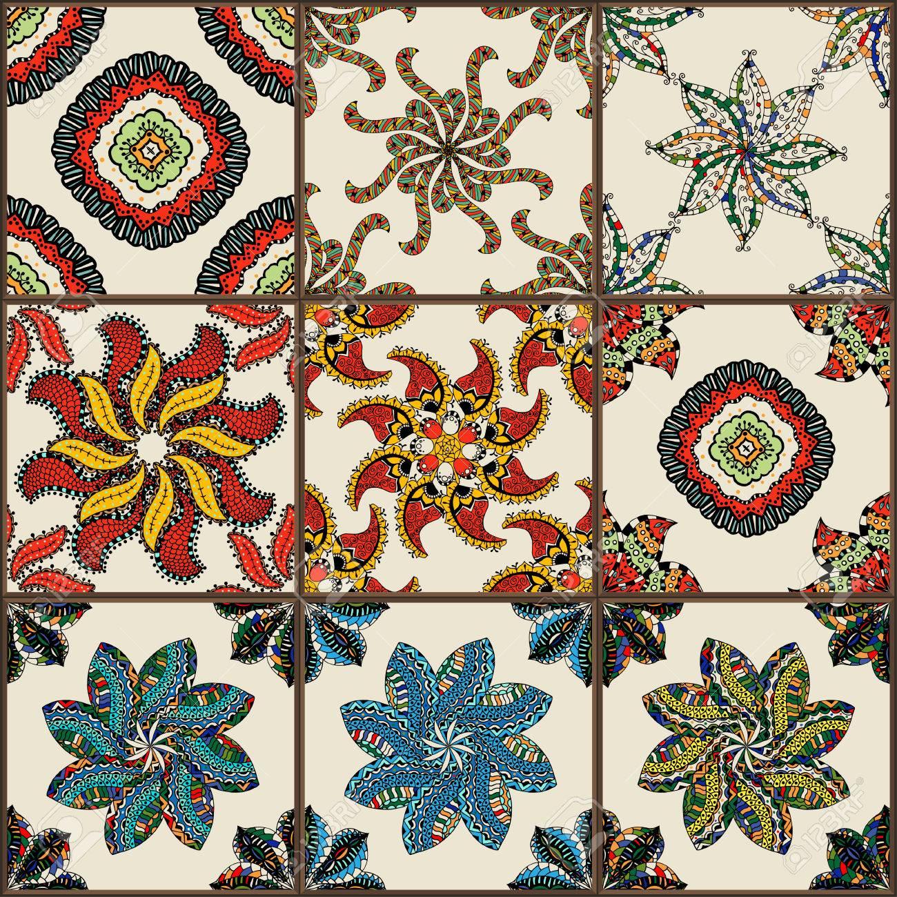 azulejos de cermica vidriada conjunto azulejos de la vendimia de colores con motivos florales y