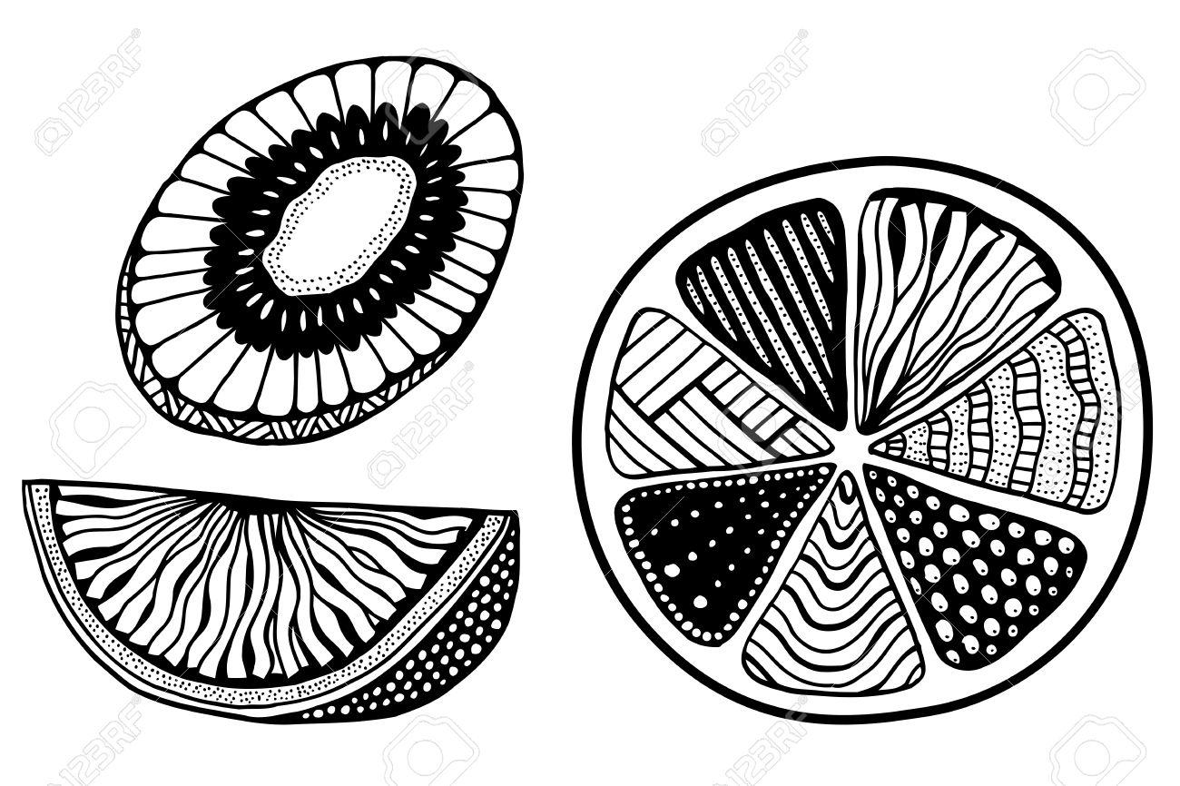 Conjunto De Naranja, Limón, Kiwi Frutas Sobre Un Fondo Blanco ...