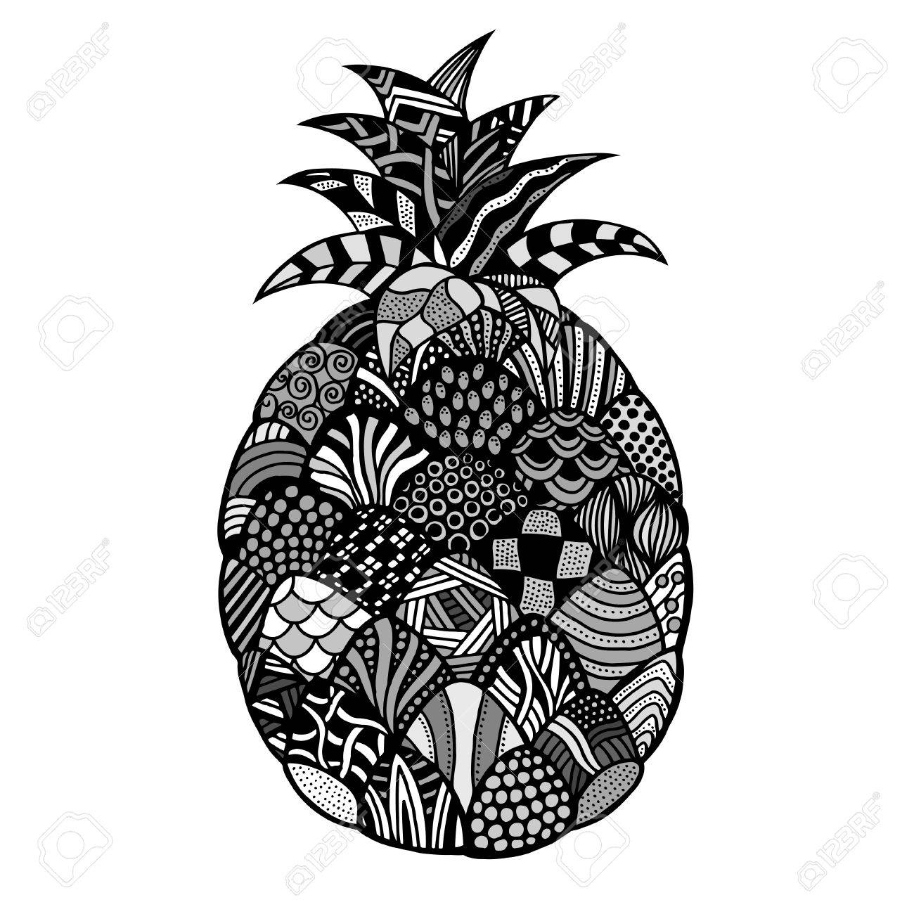 Ananas Plante Fruits Exotiques Dessin Au Trait Noir Et Blanc Dessiné à La Main Illustration Vectorielle De Doodle Décoratif Stylisé Tatouage
