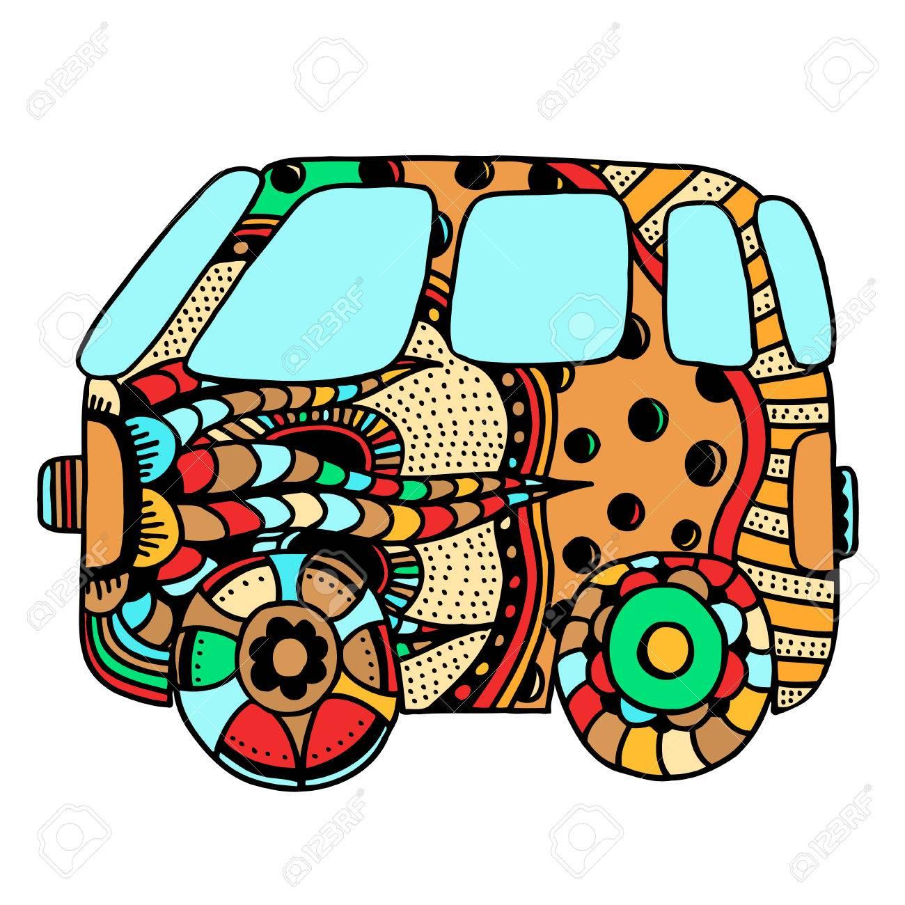 Hippie Oldtimer Ein Mini-Van Für Erwachsene Anti-Stress. Malvorlage ...