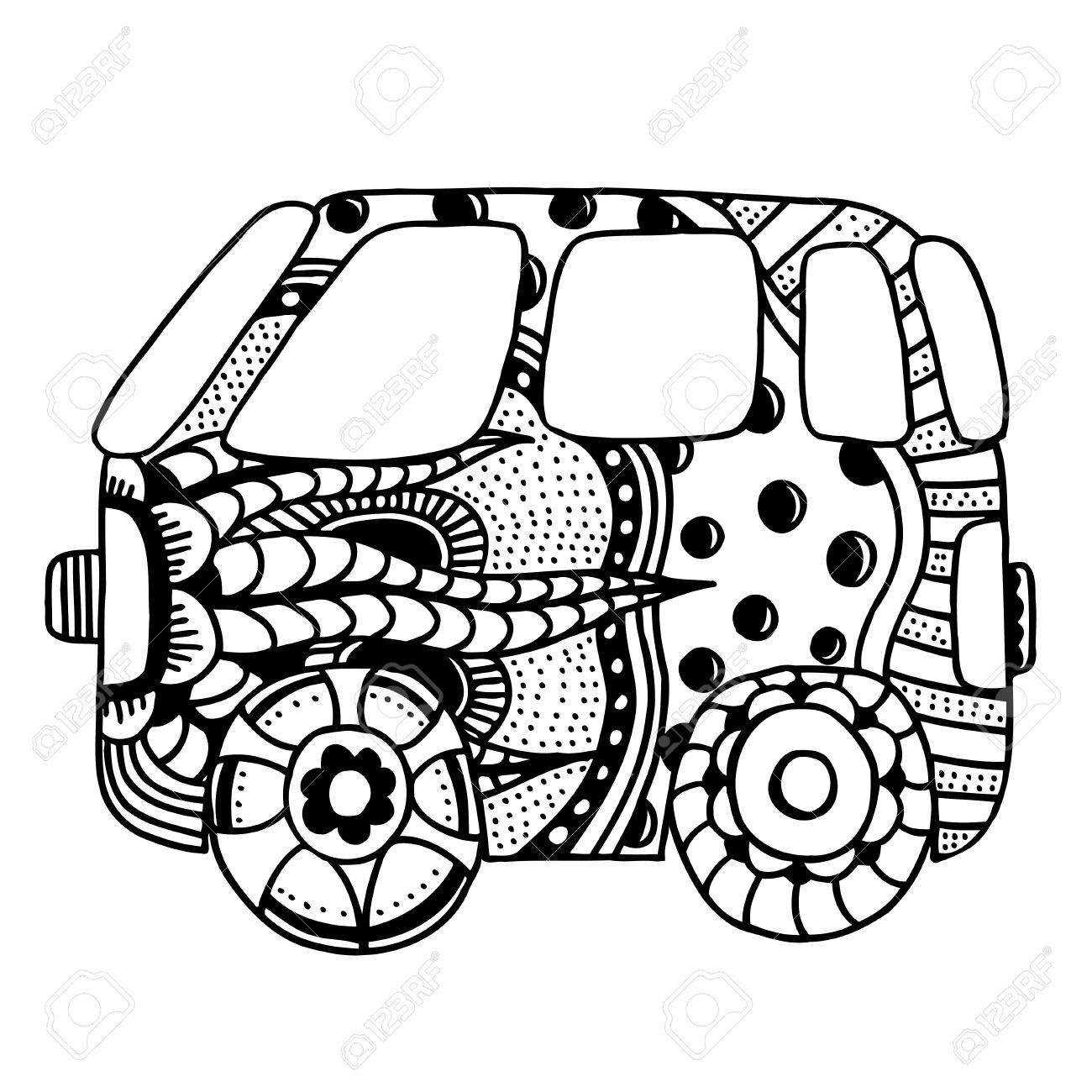 Hippie Vintage Car A Mini Van. Made By Trace From Sketch. Monochrome ...
