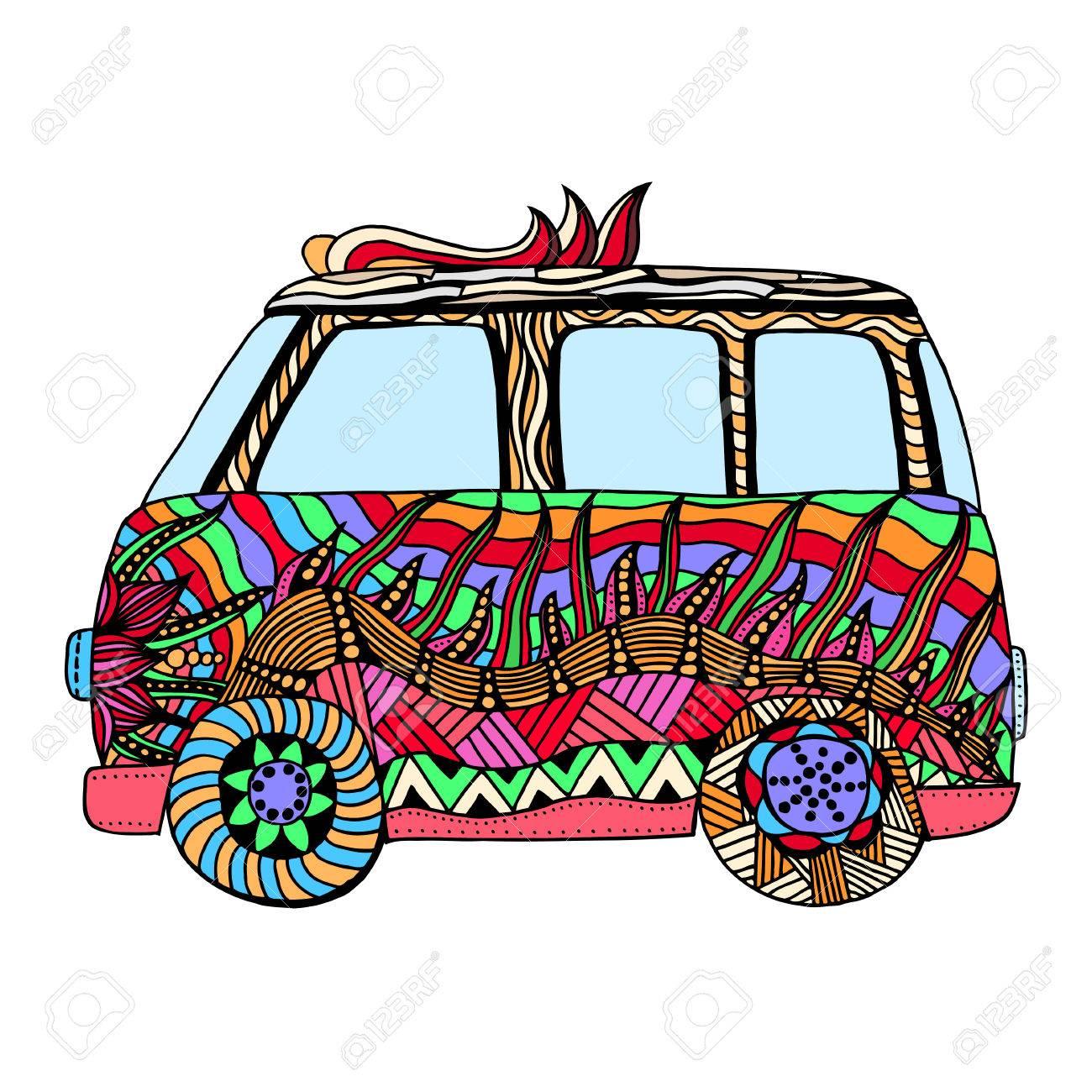 Coloriage Adulte Voiture.Hippie Voiture Vintage Un Mini Van Pour Anti Stress Adulte