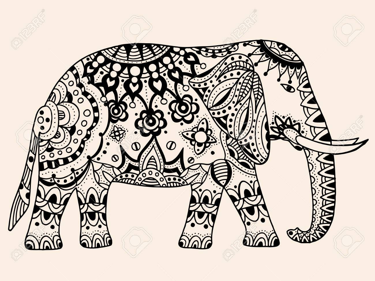 Indian Elephant. Hand Drawn Doodle Indian Elephant With Tribal ...