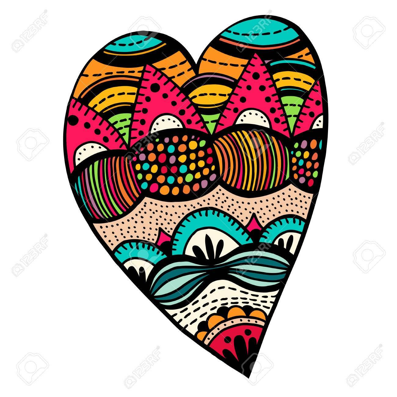 Coloriage De Coeur En Couleur.Dessine A La Main Style Coeurs De Couleur Motif Pour Livre De