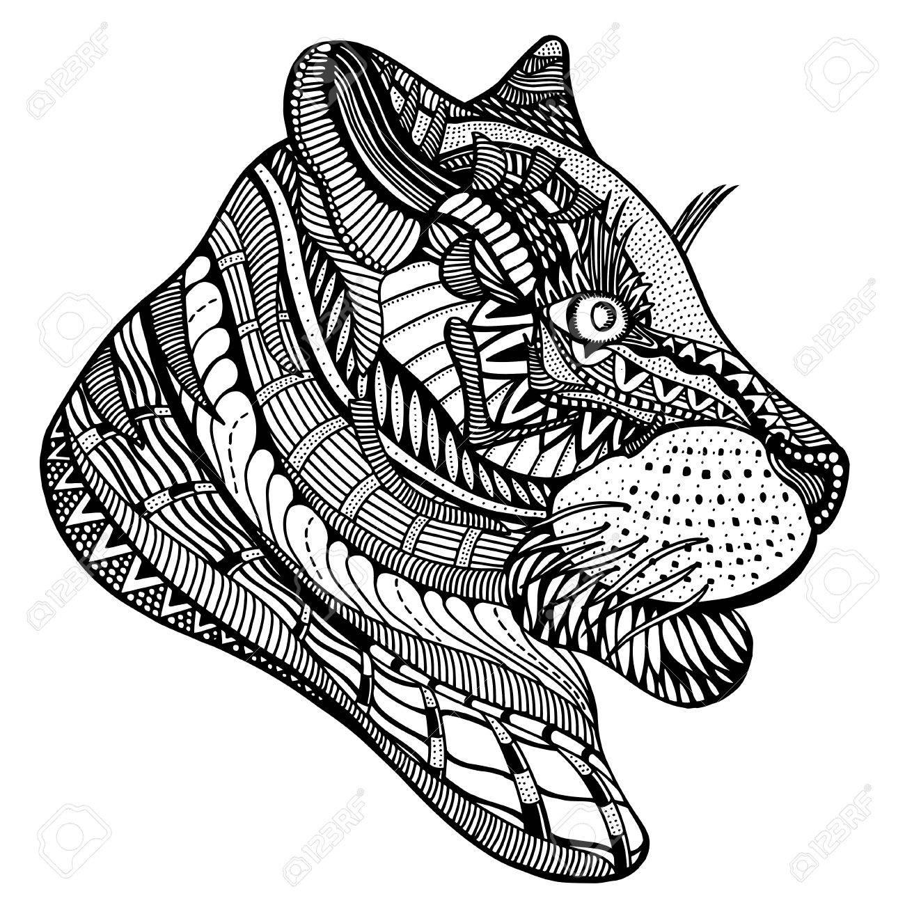 Tigre Dibujado A Mano Con Motivos Florales étnica. Dibujo Para ...