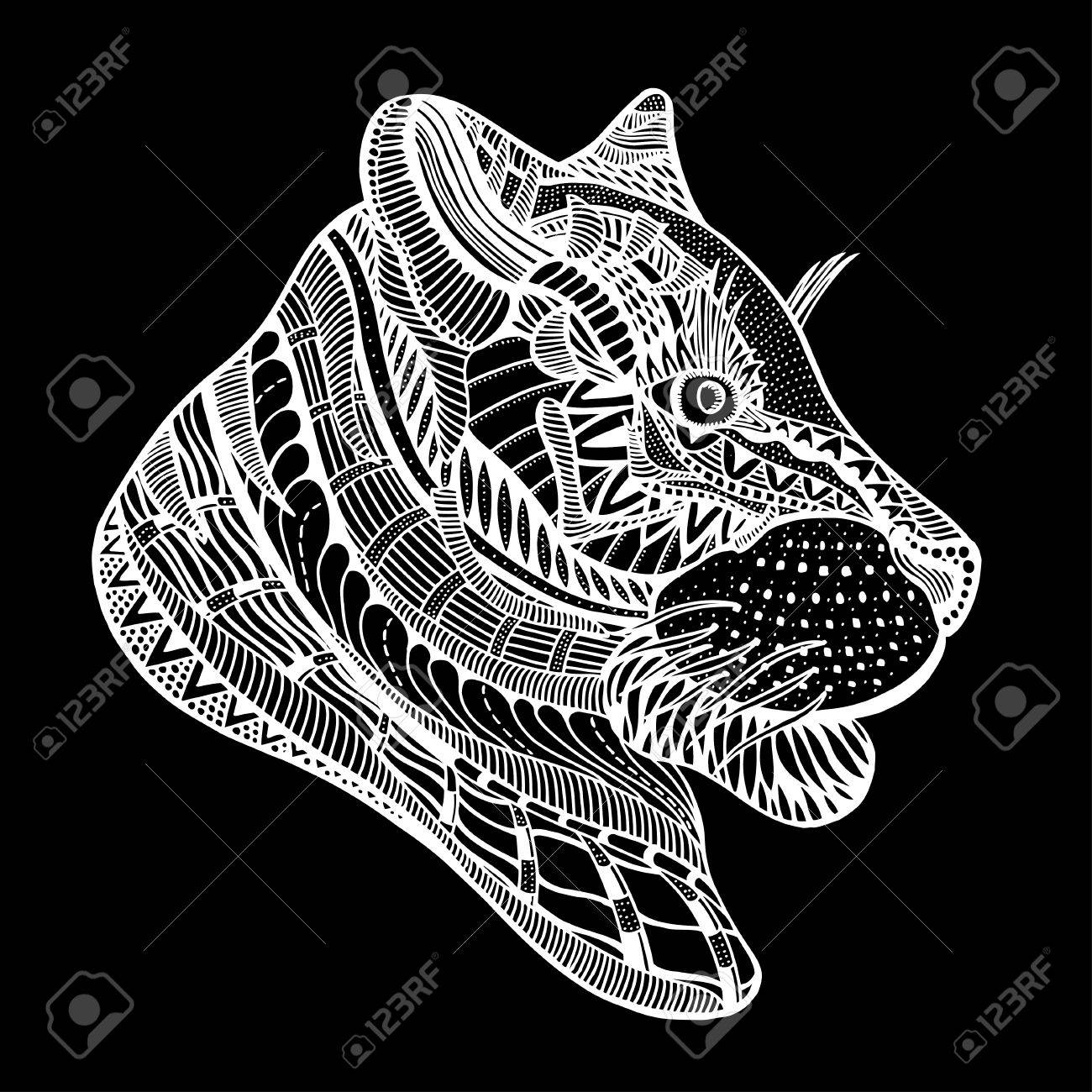 Hand-drawn Tiger With Ethnic Floral Pattern. Coloring Page ...