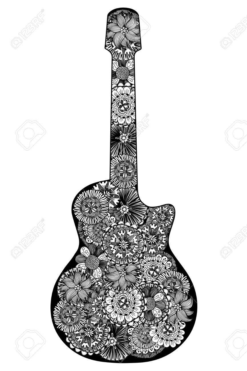 Guitarra. Dibujado A Mano Patrón De Flores. Página Para Colorear ...