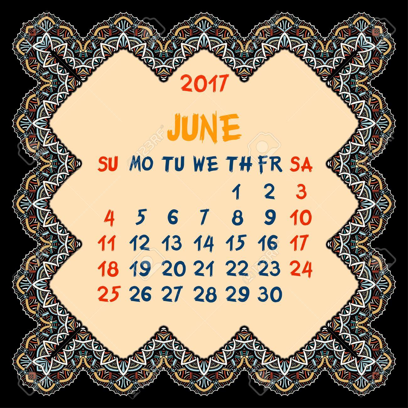 Calendario Para El Año 2017. De Junio De Diseño Vectorial Plantilla ...