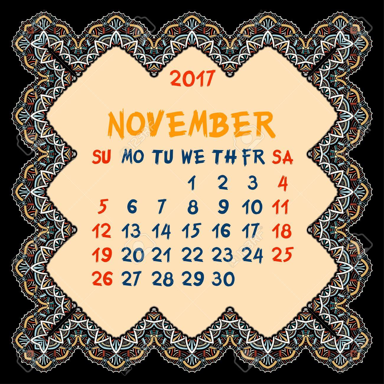 Kalender Für 2017 Jahr. November, Vektor-Design-Druck-Schablone Mit ...