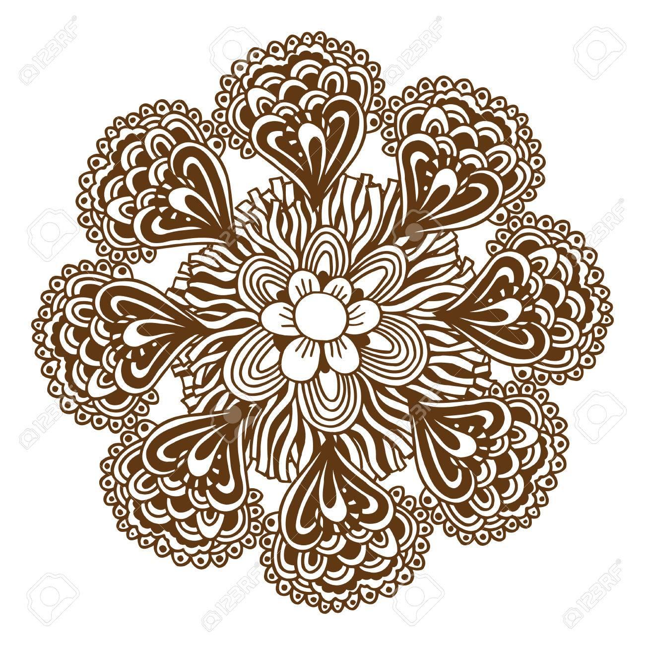 3b351f1c5 Circular floral ornament Mehndi Henna Tattoo Mandala, Yantra brown. Vintage  vector banner frame card