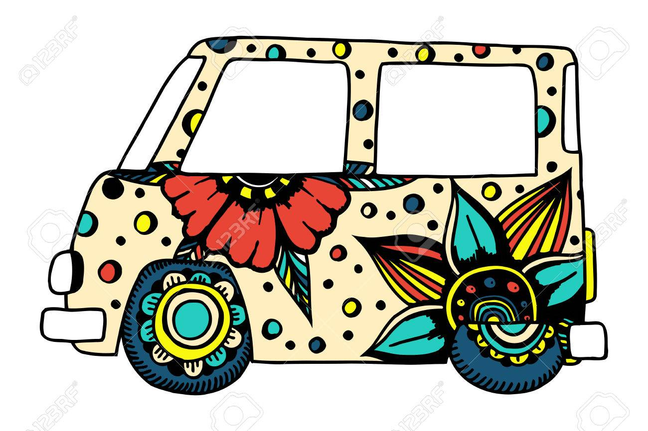 Funny car a mini van for adult anti stress. Coloring page with high details.