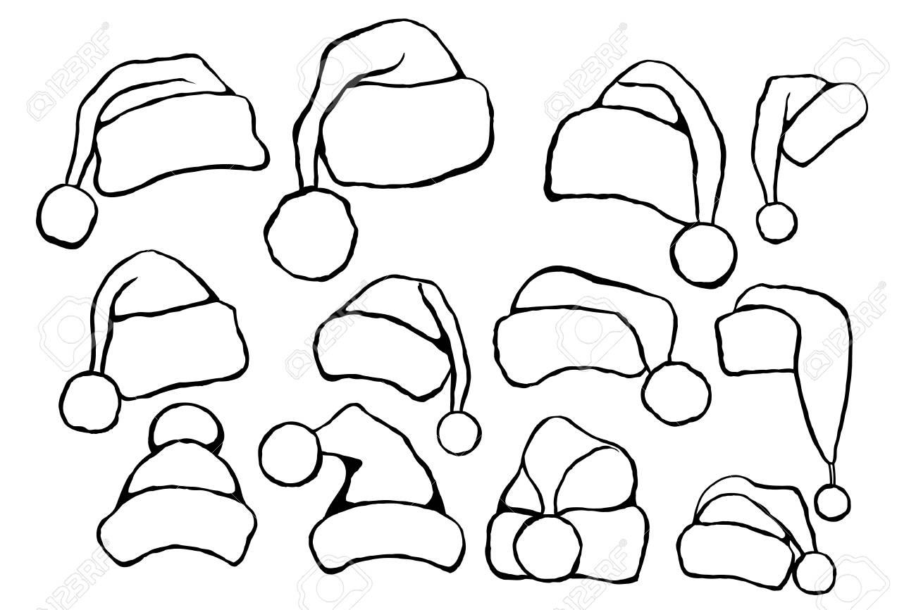 Set Of Monochrome Doodle Hats Santa Claus. Template Christmas ...