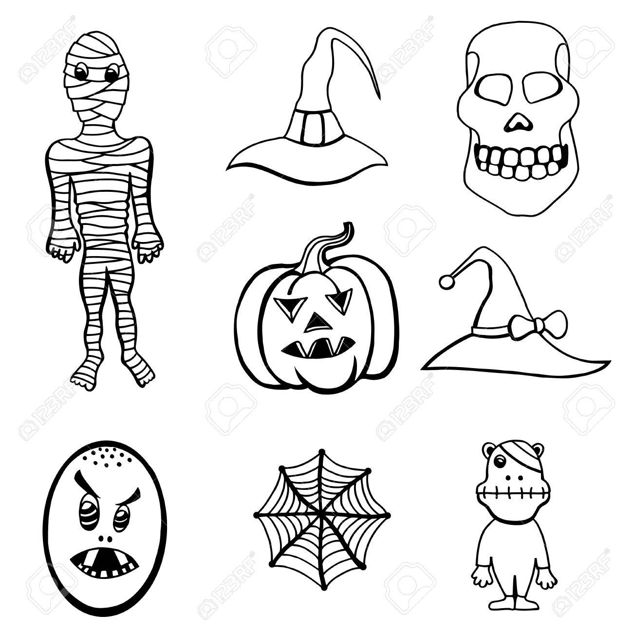 Monochrome Set Of Halloween Monsters And Hats Black And White Royalty Free Cliparts Vectors And Stock Illustration Image 62987494