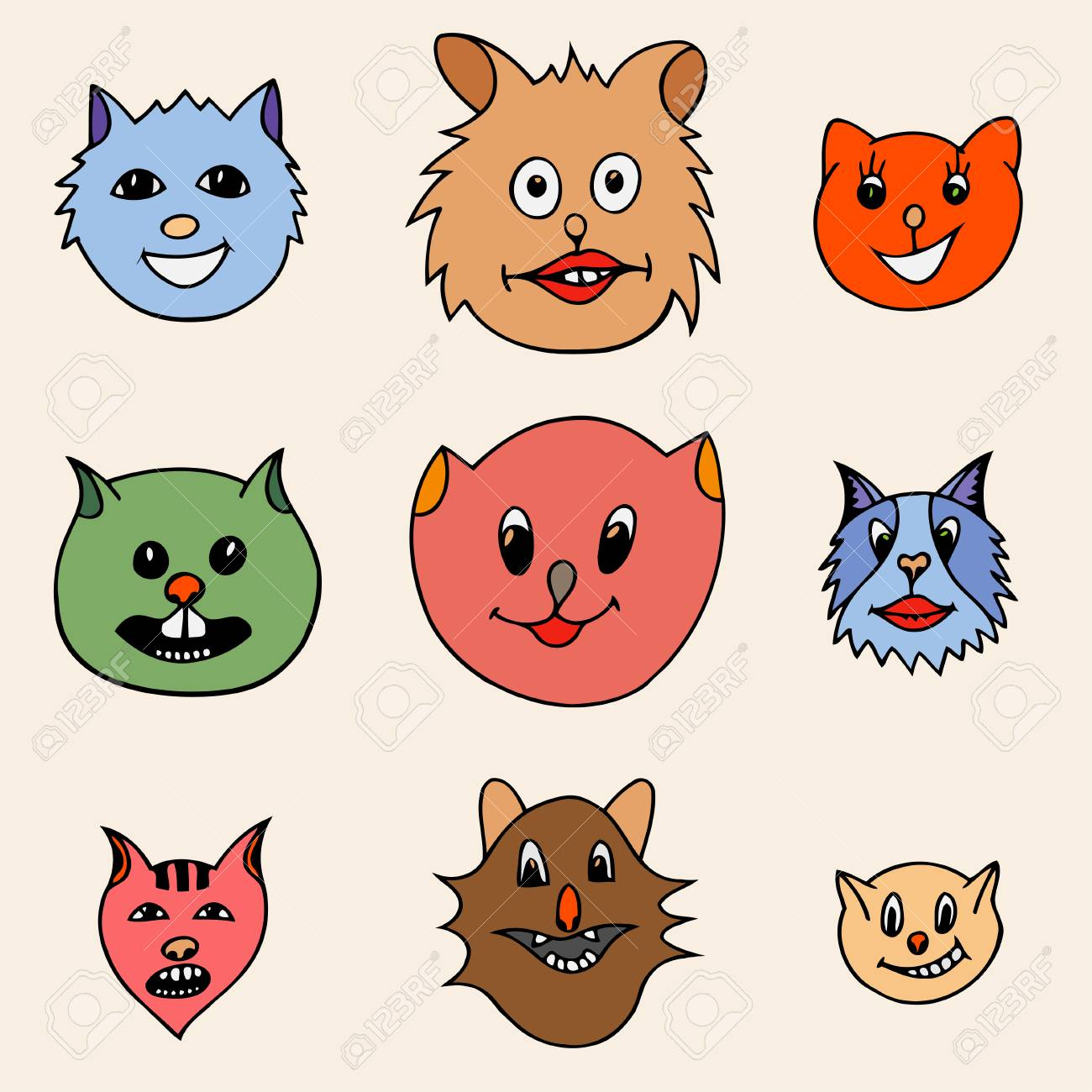 Set Of Different Adorable Cartoon Cats Faces Colored Vector