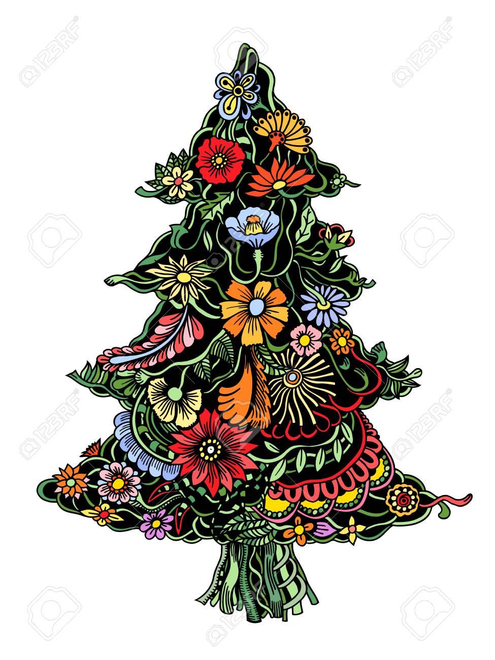 Rbol De Navidad De Hermosas Flores Pintadas. Floral Abeto, Dibujado ...