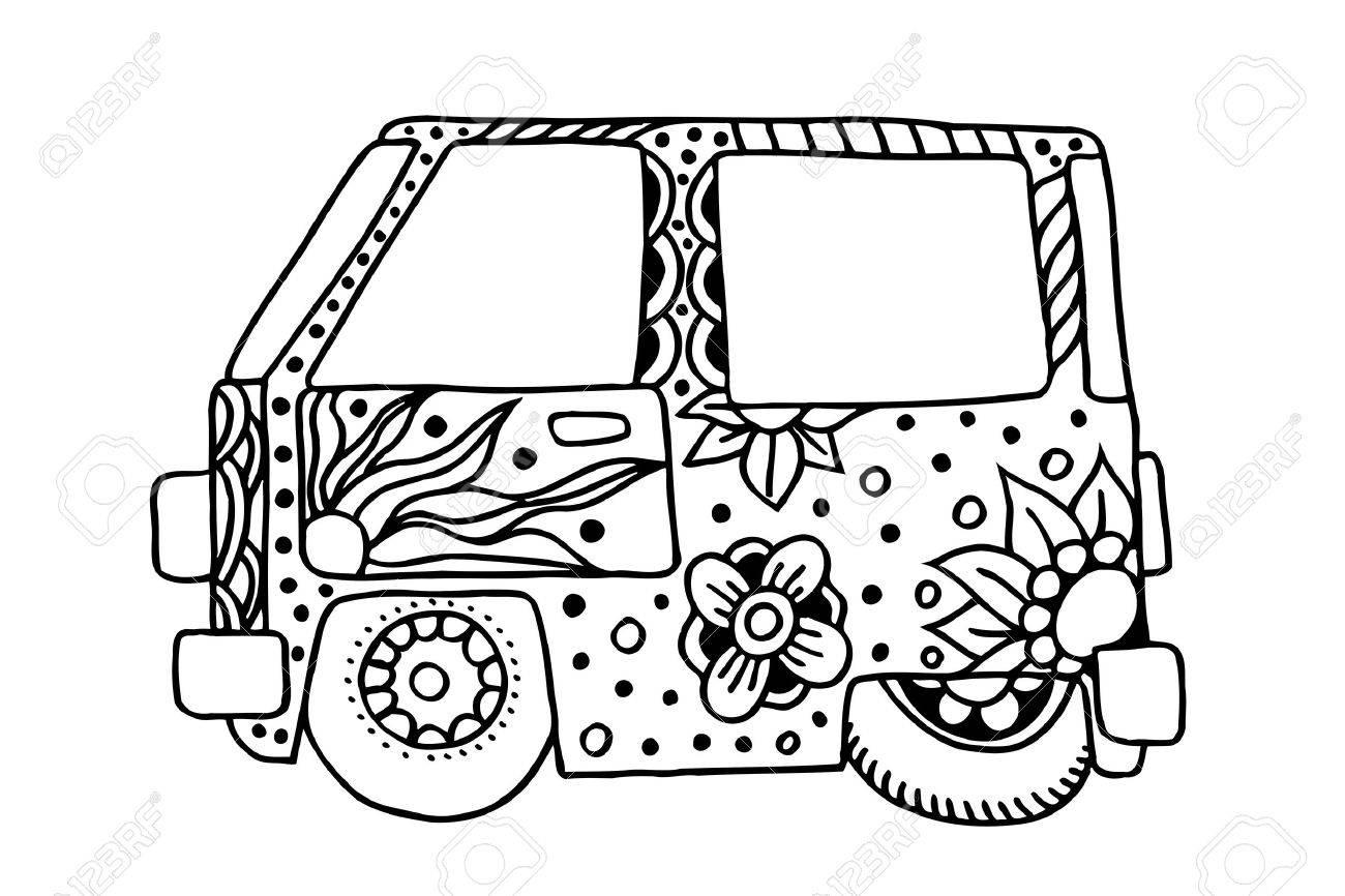 Hippie Oldtimer Ein Mini-Van In Zentangle Art Für Erwachsene Anti ...