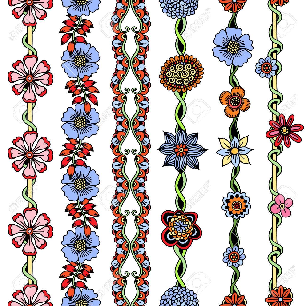Colorido Vector Fronteras Florales Fijados. Ilustración De Estilo De ...