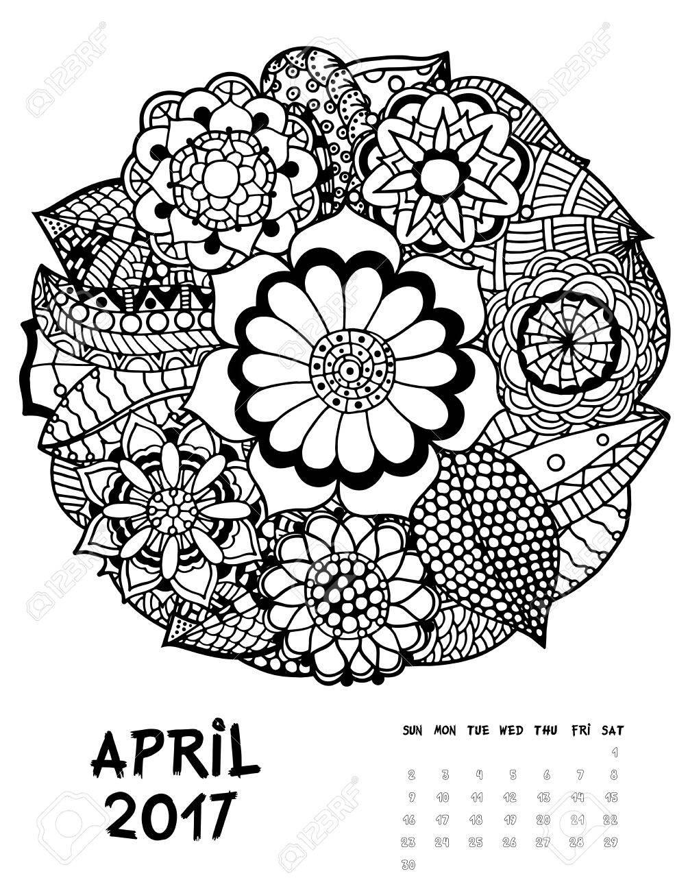 2017年 4 月カレンダー Zendoodle スタイル日曜日に抽象的な花の Fset