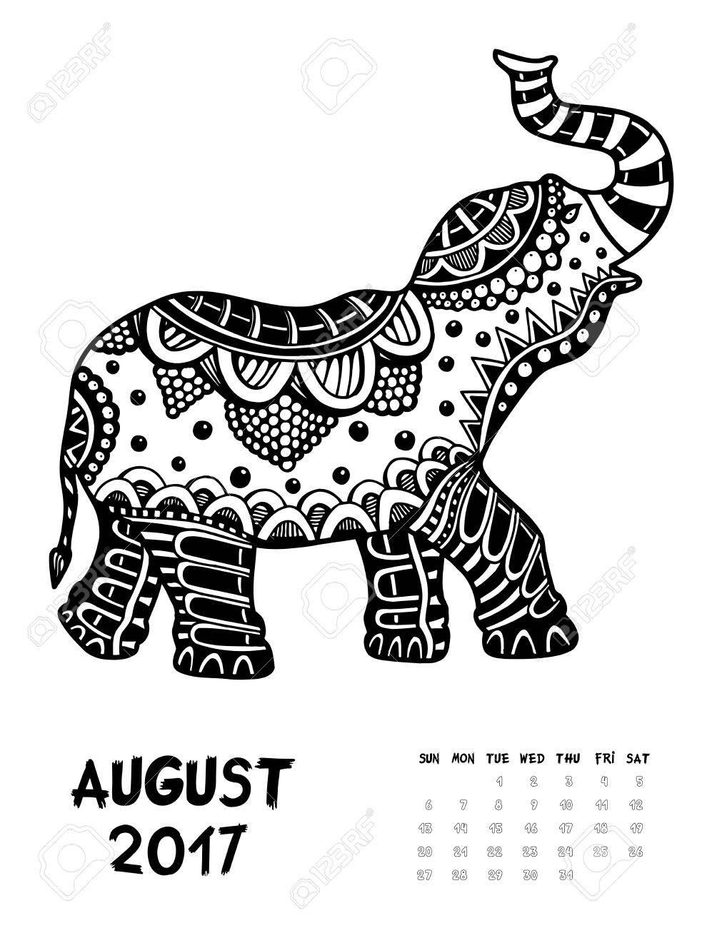 2017年 4 月 Zendoodle スタイルをカレンダー日曜日に象を開始します