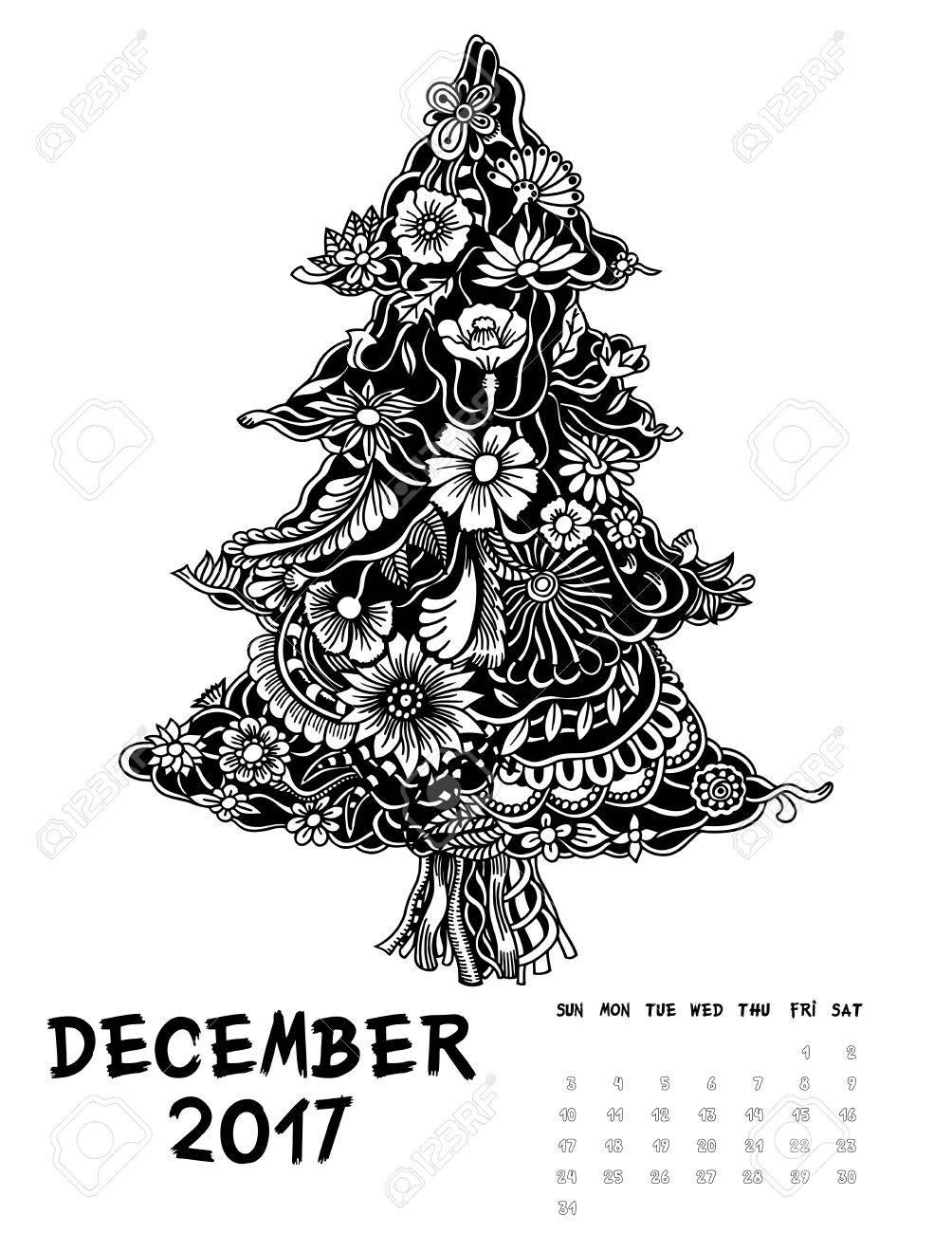 Weihnachtsbaum Schwarz Weiß.Stock Photo