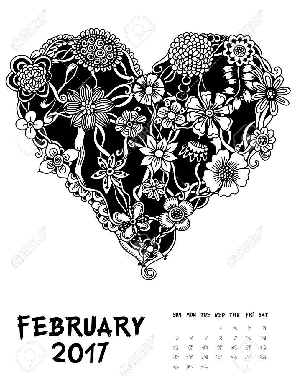2017 年 2 月月のライン アート カレンダー ページ花の心の中黒と