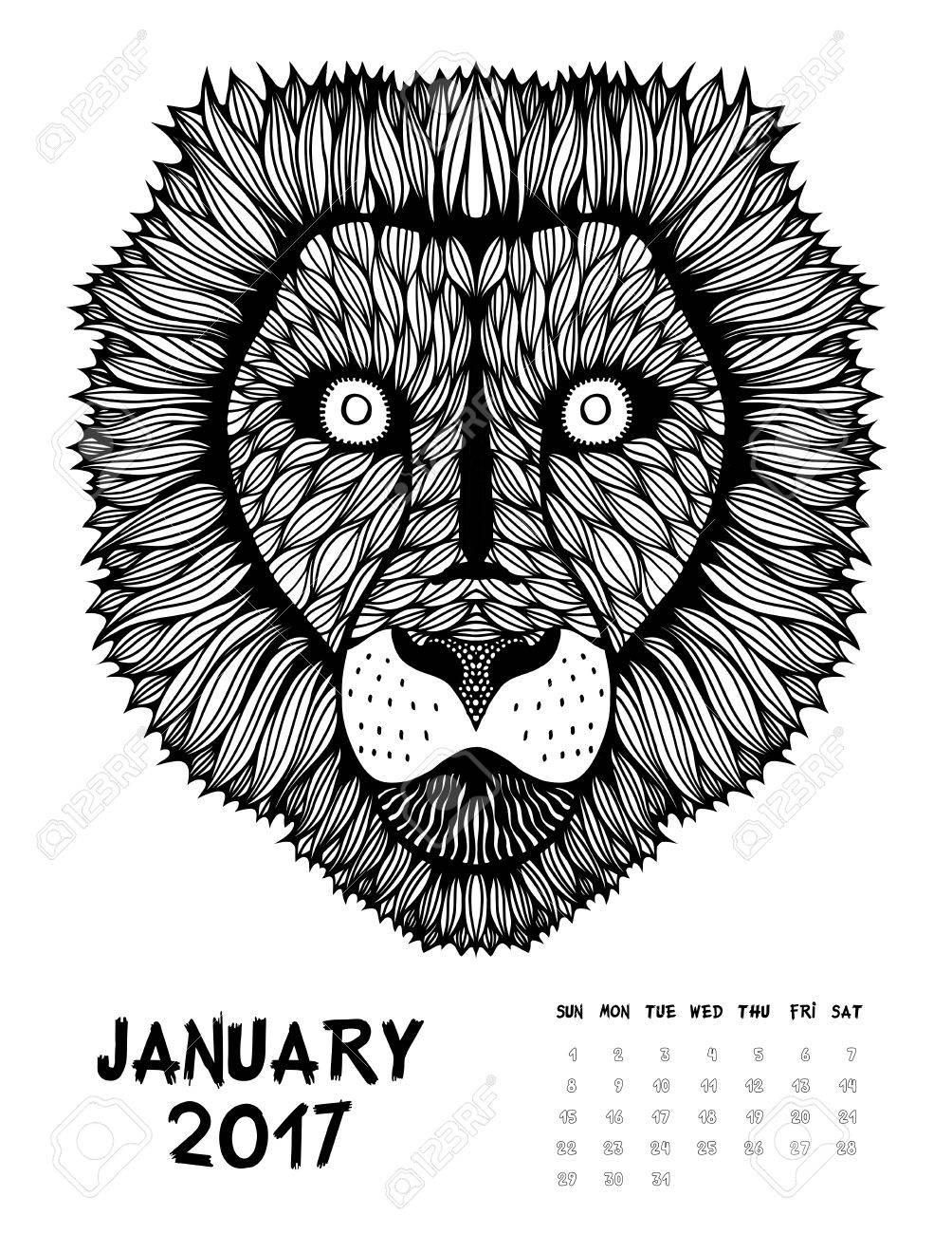 De Enero De 2017 Calendario. Estilo Diseño De Trazado, León. En ...