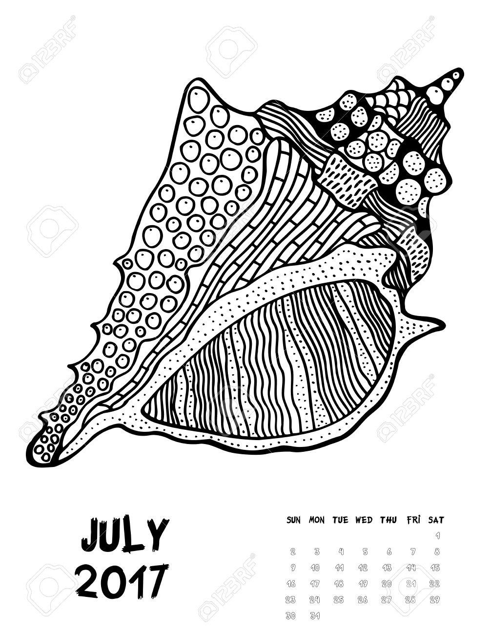 De Julio De 2017 Del Calendario. Arte Ilustración Blanco Y Negro ...