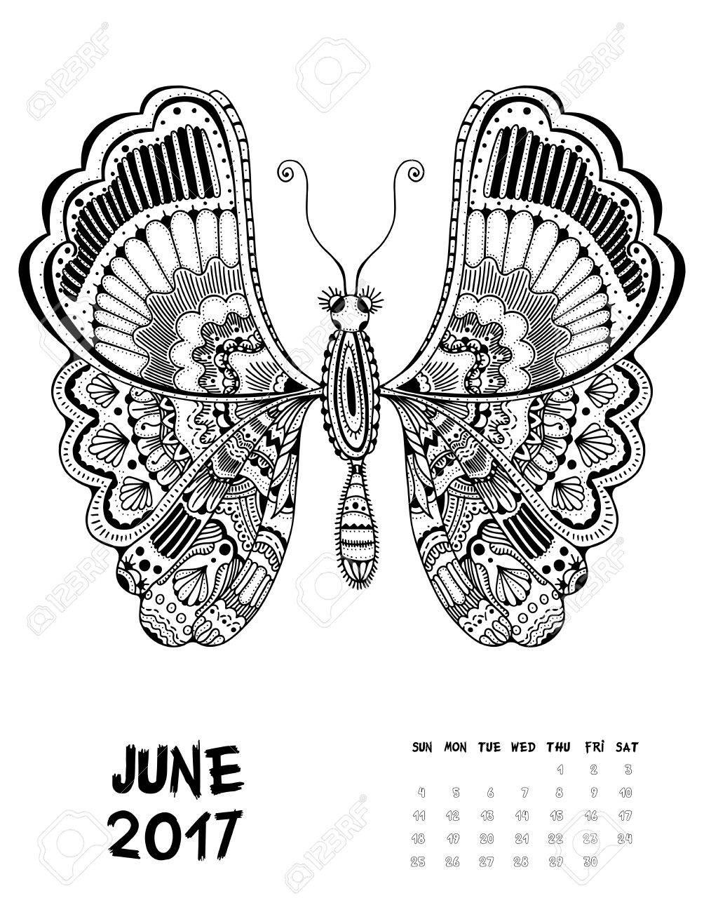 De Junio De 2017 Calendario. Arte Ilustración Blanco Y Negro ...