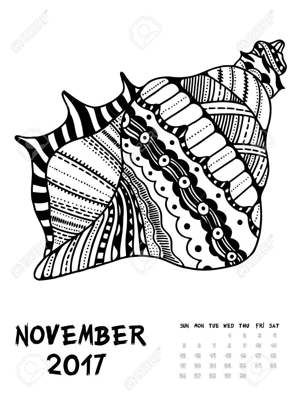 november 2017 calendar line art black and white illustration seasell print anti