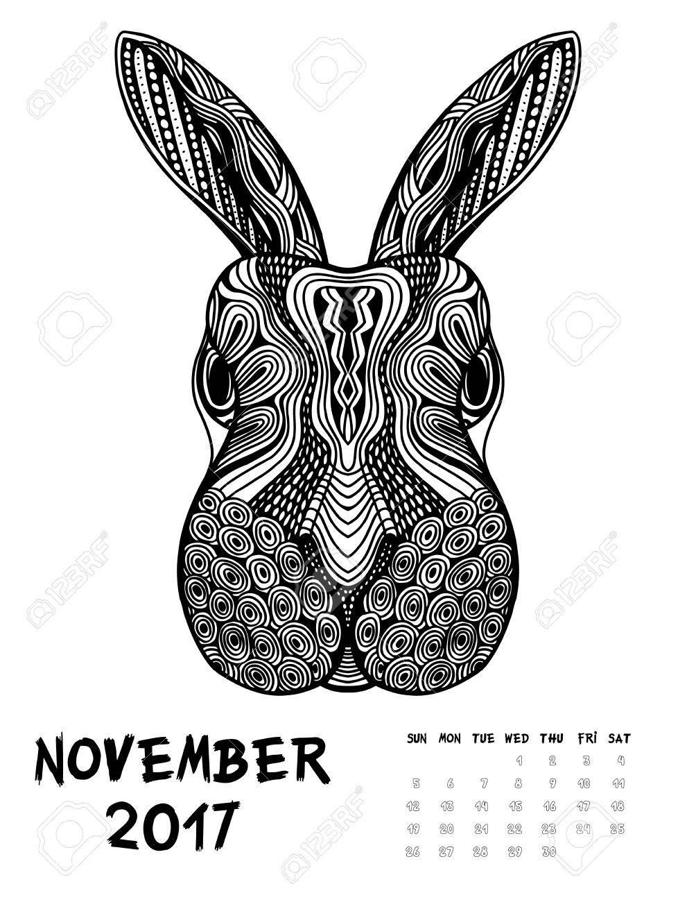 De Noviembre De 2017 Calendario. Arte Ilustración Blanco Y Negro ...