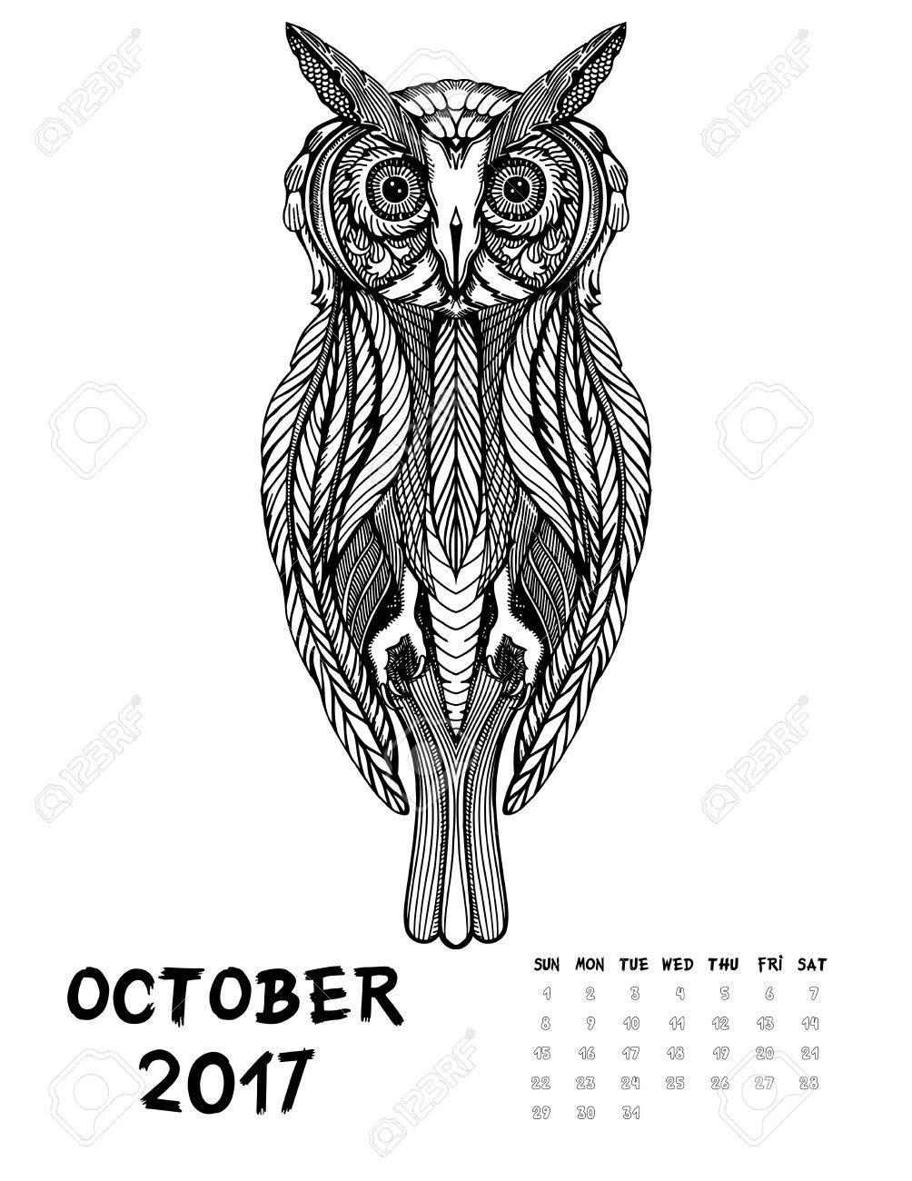 De Octubre De 2017 Calendario Arte Ilustración Blanco Y Negro Búho Imprimir La Página Para Colorear Antiestrés