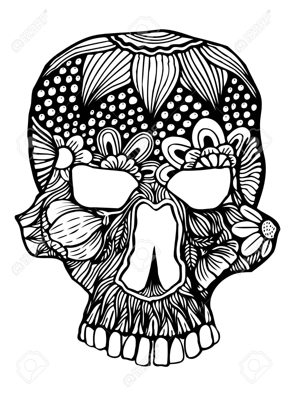 Zentangle Stylized Skull For Halloween Freehand Sketch For Adult Royalty Free Cliparts Vectors And Stock Illustration Image 63791431