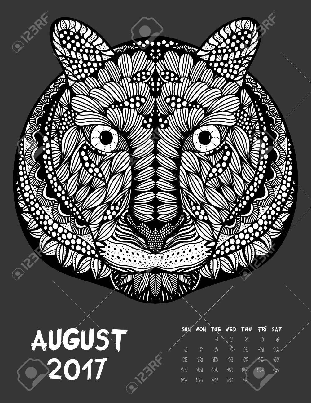 Août 2017 Calendrier Dessin Au Trait Noir Et Blanc Illustration Tigre Imprimer La Page De Coloriage Anti Stress