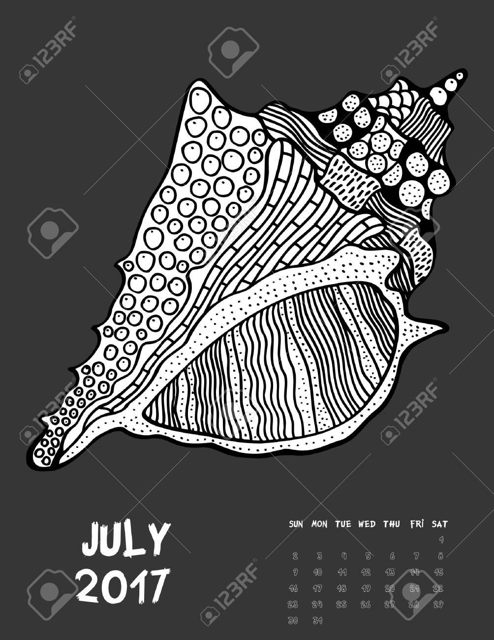 Juli, 2017 Kalender. Linie Kunst Schwarz-Weiß-Illustration. Seasell ...