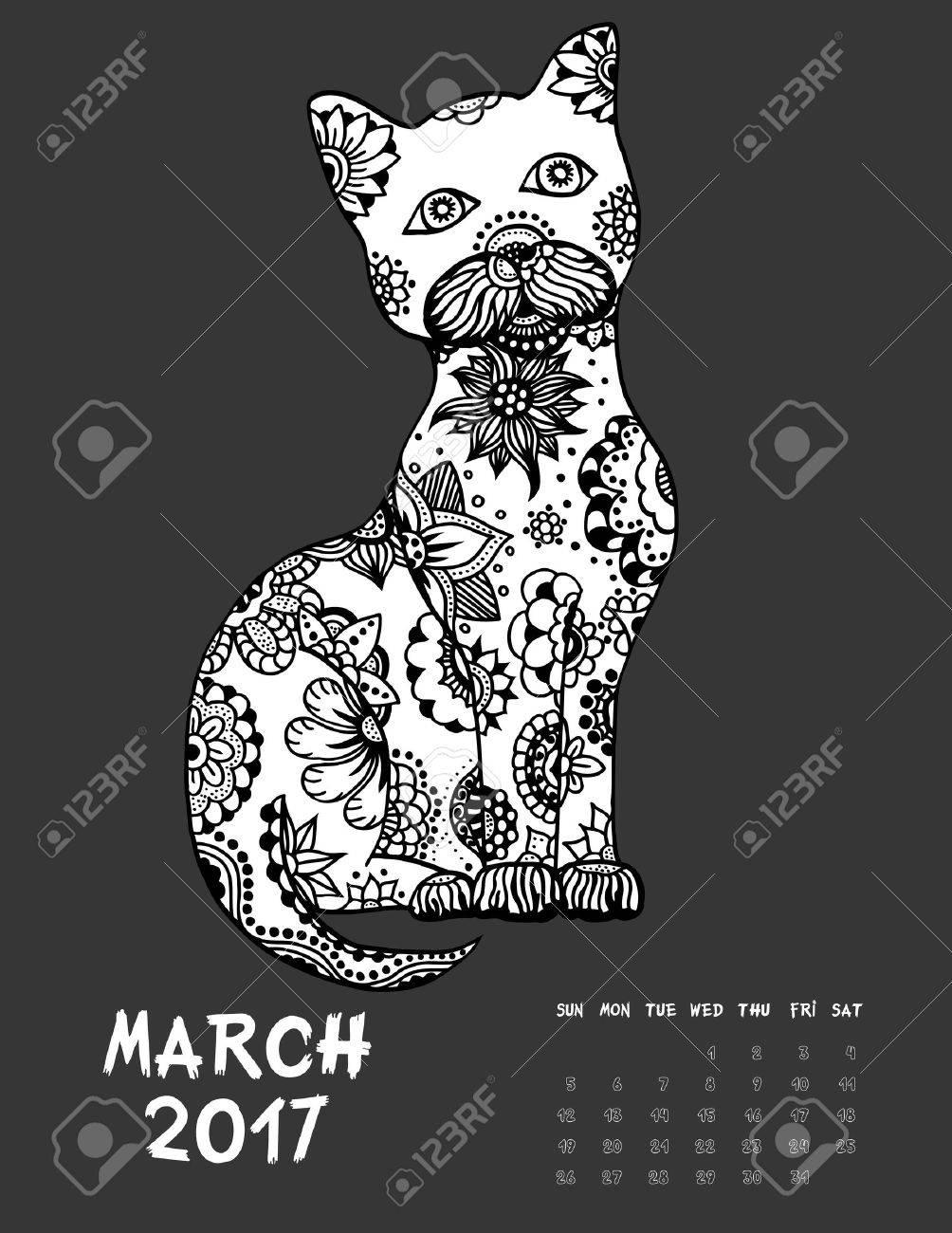 März, 2017 Kalender. Line Art Schwarz-Weiß-Illustration. Katze ...