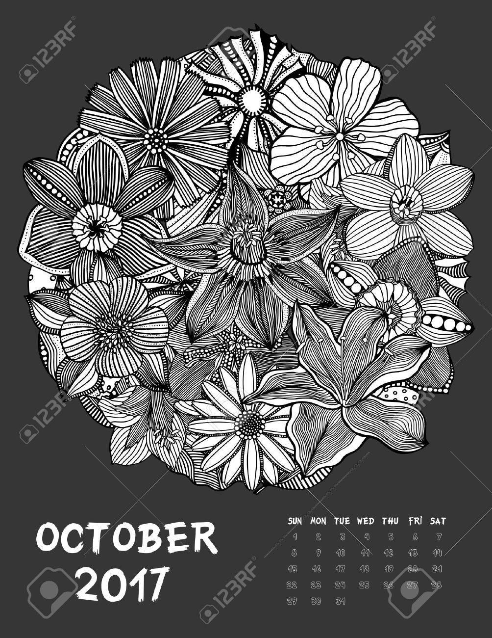 october 2017 calendar line art black and white illustration