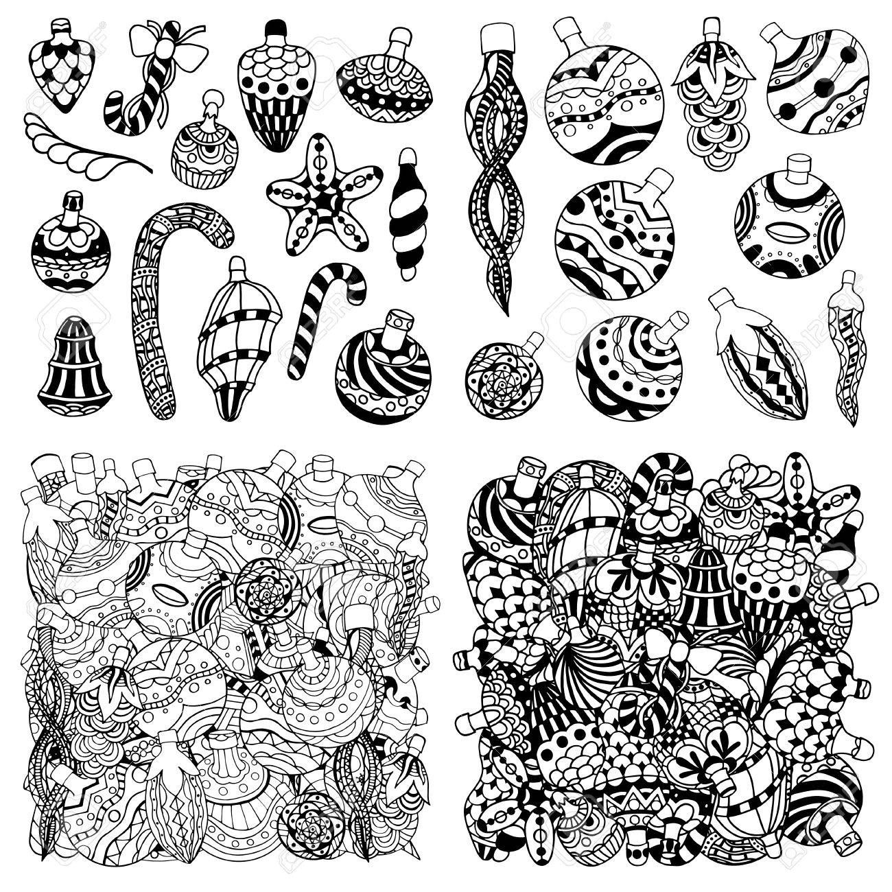 Set Hand Drawn Christmas Balls Zentangle Style For Coloring Book ...