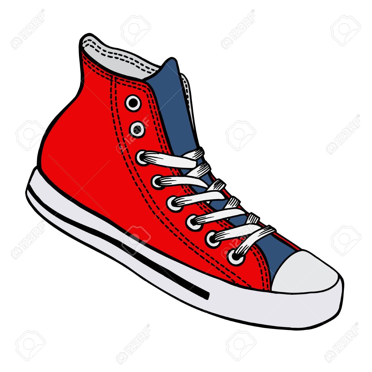 Vector illustration chaussures de sport rouges et bleues avec lacets blancs isolés sur fond blanc, dessinés à la main, vue latérale