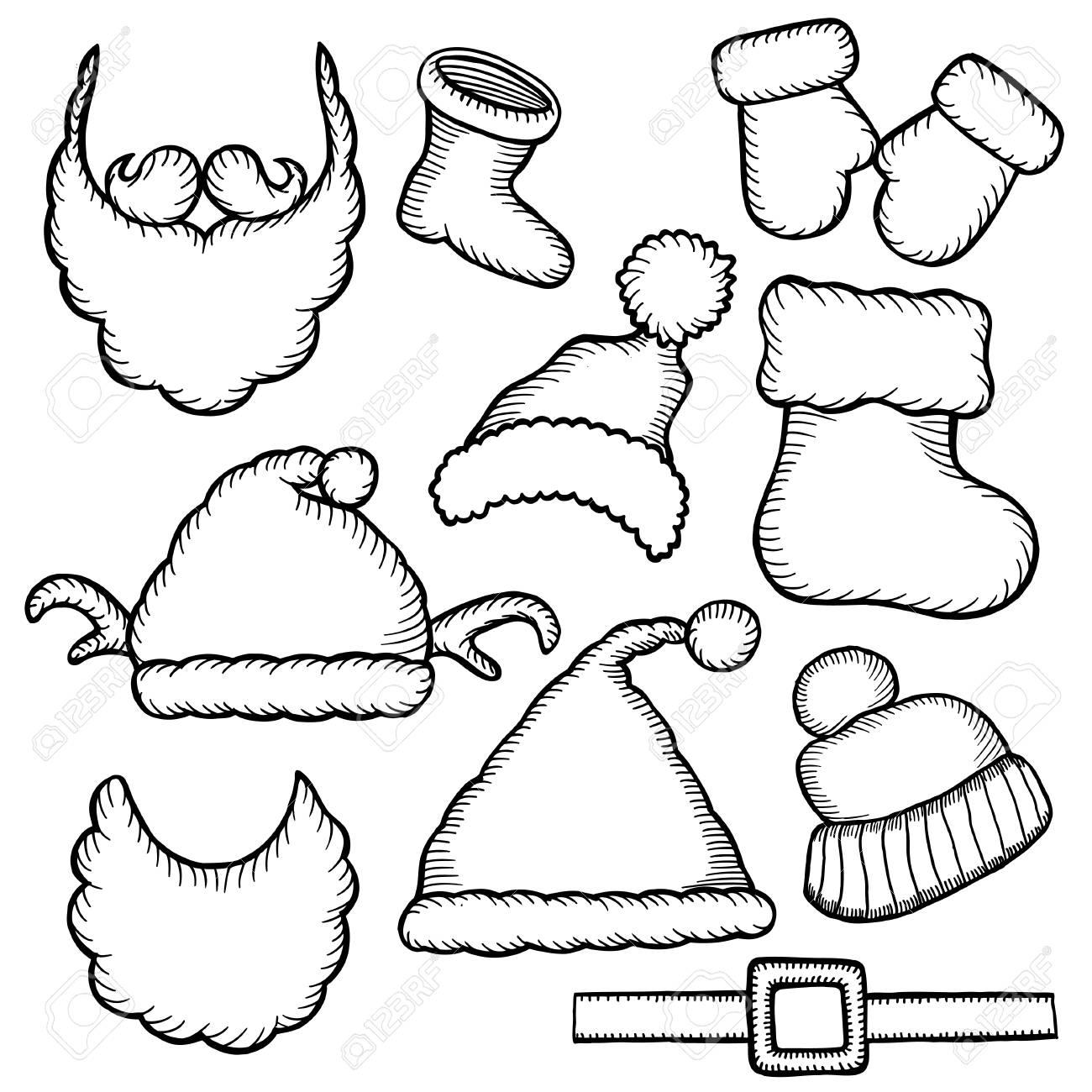 Conjunto De Doodle Monocromo Sombreros Santa Claus. Plantilla ...